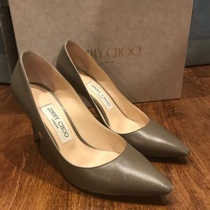 Jimmy Choo Romy 85 Leather Pumps in Stone, 6 1/2
